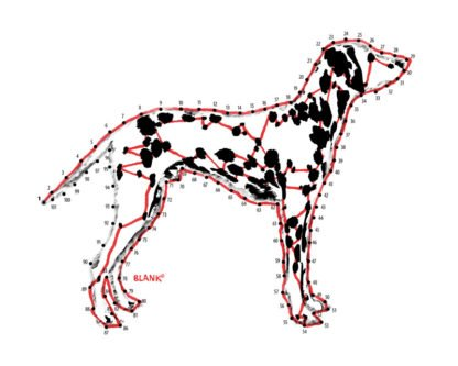 Illustration of a dalmatian dog with connect the numbers puzzle. Part of the DOGMA Portraits collection. ©Cliff Blank