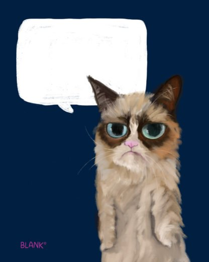 Illustration of Grumpy Cat with talk bubble. Part of the DOGMA Portraits collection. ©Cliff Blank