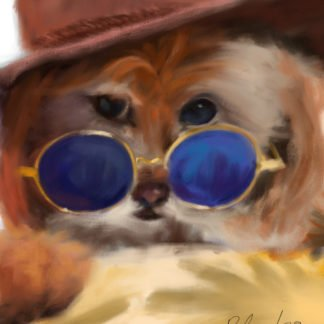 A painting of a small dog peering behind a pair of round blue-tinted sunglasses while wearing a western hat.