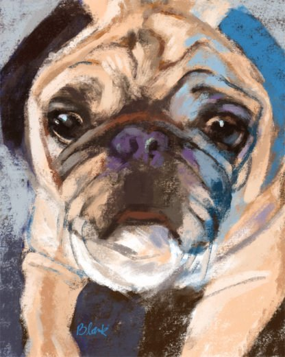 Cute painting of a pug dog with blue highlights.