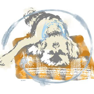 A painting of a small dog resting on a plaid orange pillow.