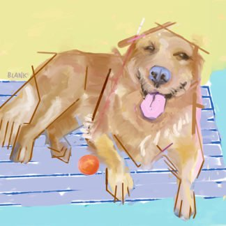Abstract cubist painting of a smiling golden retriever sitting on a park bench.
