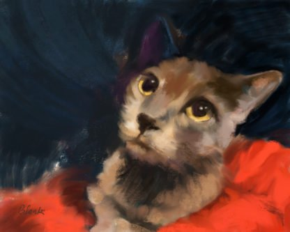 A painting of a brown cat with yellow eyes sitting on a red blanket looking up.