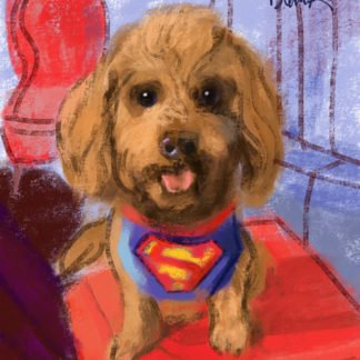 A painting of a brown dog wearing a Superman T-shirt sitting on a red pillow.
