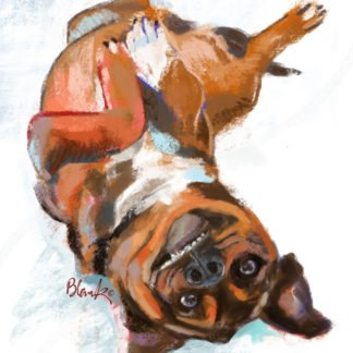 Painting of dog rolling on its back in the snow with a silly grin.