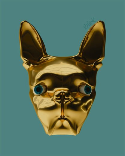 3D rendering of a gold boston terrier dog.